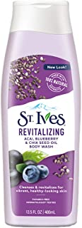 St. Ives Revitalizing Acai,Blueberry & Chia Seed Oil Body Wash 13.5 Ounce (2 Pack)
