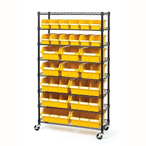 Commercial 8-Shelf 24-Bin Rack Storage System, NSF Certified (24 Bin / Yellow)