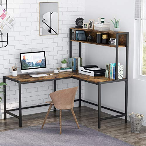 Tribesigns L-Shaped Desk with Hutch, Workstation, Study Desk, Computer Desk with Storage Shelves