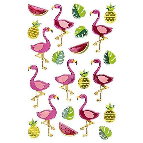 Sticker | Aufkleber | Abziehbilder | Stickerbögen mit diversen Motiven | Bogengröße 15 x 10 cm (Flamingos)