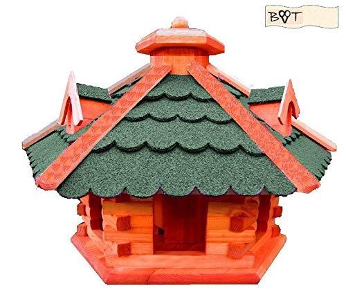 XXL großes Vogelhaus, Futterhaus , mit 3 x dekorativen Dachgauben und Futterschacht / Silo, große Vogelvilla Holz mit /,auch mit Ständer (als Zubehör erhältlich),-Vogel+Futterhaus GRÜN moosgrün - 2