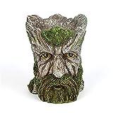 QKFON Macetero de árbol de cara de hombre con barba verde, maceta de resina decorativa retro de resina para plantas de jardín o sala de estar