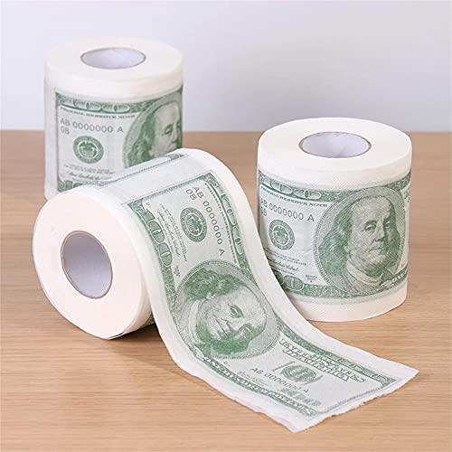 ERWEI 3 Rollo de Madera Pulpa Cien dólares Impreso Papel Papel Divertido Papel higiénico Humor Papel higiénico Novedad Regalos Suministros para el hogar