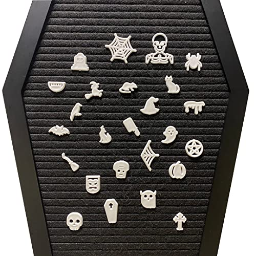Nomnu Halloween Letter Board Characters - White Spooky Emojis for Letterboard - Gothic Icons, +80pcs Felt Message Board Accessories - Pumpkin, Coffin, Skeleton, Skull, Spider, Spiderweb, Bat, Witch Hat, Broom and Other Holiday Decorations