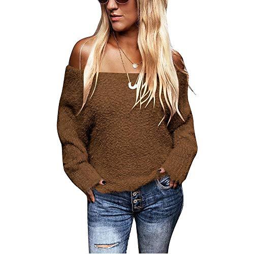 CUYOC Einfarbig Off-Shoulder Herbst und Winter Plüsch Langarmpullover für Damen