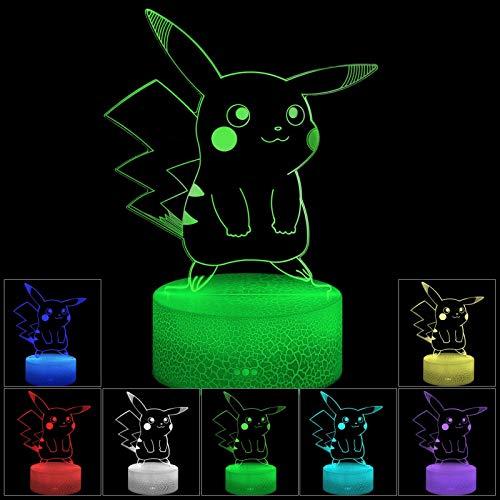 3D Illusion LED Night Light, 7 colores con cambio gradual del interruptor táctil USB Lámpara de mesa para regalos navideños o decoraciones para el hogar (Estilo de grieta)