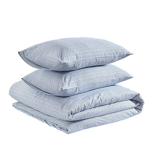 Amazon Basics Brushed Percale Cotton Duvet Comforter Cover Set, Full / Queen, Sketched Stripe
