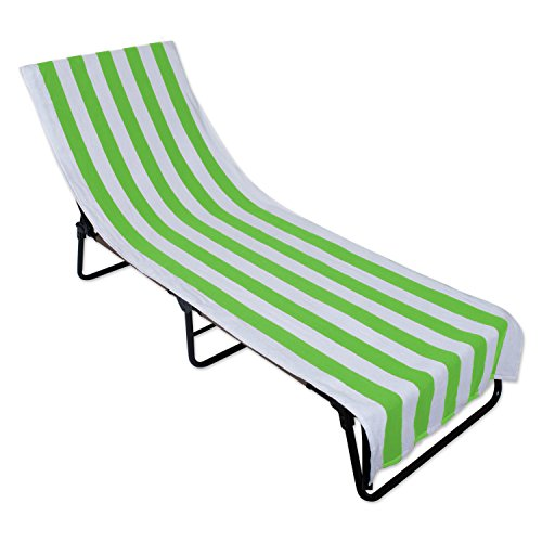 DII Stripe Beach Lounge Chair Towel with Fitted Top Pocket, 26x82, Green