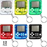 Sumind 12 Pieces Brick Game Console Keychain Mini Brick Game Keychain Classical Portable Game Console with Hanging Chain Birthday Festival Party Favor, 26 Games