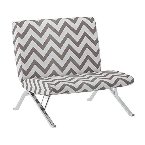 "Monarch Specialties Dark Taupe ""Chevron"" Fabric/Chrome Metal Accent Chair, 31-Inch"