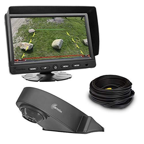 Carmedien CM-TRFS2 12V 24V Transporter Système de recul vidéo Système avec caméra de recul 120° et diodes infrarouges pour vision nocturne + Écran de 7\