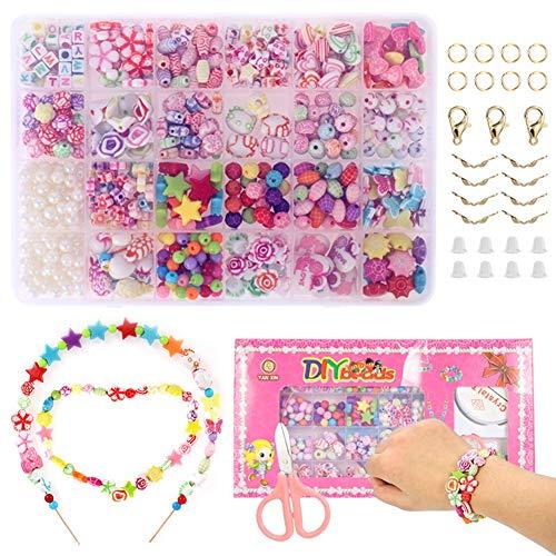 miuse Perlen Zum Auffädeln, DIY Armbänder Selber Machen Kinder, Buchstaben Perlenschmuck Schmuckbasteln, Geschenk für Mädchen, Ketten Basteln, Adventskalender 2020 Mädchen