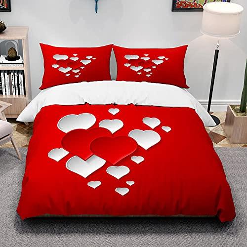 YMYGYR Cubiertas de edredón de Amor Rojo Impreso 3D y Fundas de Almohadas, una Variedad de Corazones Rojos Que Las Parejas amaban Antes, Ropa de Cama Suave y cómoda-O_180x220cm (3pcs)