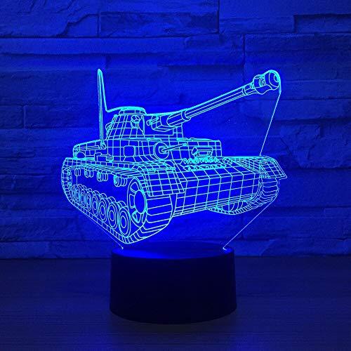 Nur 1 Cool Tank 3D Nachtlicht Touch Switch Farbwechsel LED Tischlampe 3D Visual USB Nachtlichter Home Decor Für Kinder Spielzeug Geschenk
