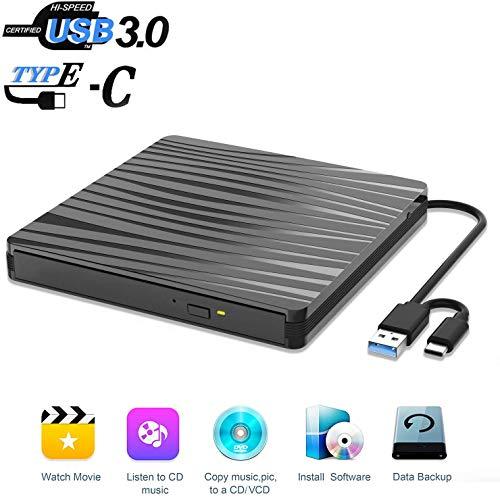 IGYLAR DVD Laufwerk USB 3.0 Extern Externes CD Laufwerk und Type-C-Schnittstelle, Slim Tragabar Externe DVD-R DVD/CD,kompatibel mit Win10 /8.1/7/XP/Vista/Linux,Laptop,Desktop,Mac