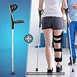 aiesi® stampella ortopedica regolabile singola avambraccio colore nero leggera in alluminio anodizzato # bastone canadese # garanzia italia 24 mesi