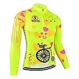 BXIO Mujer Manga Larga Ciclismo Jersey Chaqueta Transpirable Verano Polar Reflectante Antiarrugas Ropa de Bicicleta Anti (Fluo Yellow(125), M)