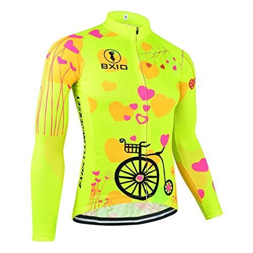 BXIO Maglia Ciclismo Donna Manica Lunga Maglia Traspirante Estate Anti-Rughe Riflettenti polarizzati Abbigliamento Anti Bicicletta (Fluo Yellow(125), 3XL)