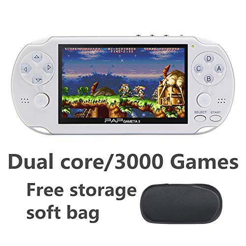 CZT Dual core 4.3 inch Handheld Game Console Video Game Console 16GB Built in 3000 CPS/NEOGEO/GBA/GBC/GB/SFC/MD/FC/SMS/GG Games MpS Player DV DC (White)