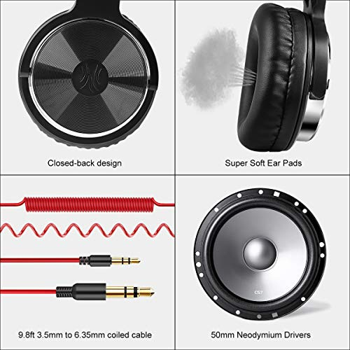 OneOdio Over Ear Headphones, Wired Bass Headsets 50mm Driver, Foldable Lightweight Headphones Shareport Mic Recording Monitoring Podcast PC TV – (Red)