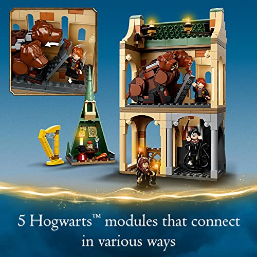 LEGO-76387-Harry-Potter-Hogwarts-Fluffy-Encounter-Castle-Toy-Building-Set-with-20th-Anniversary-Golden-Minifigure-3-Headed-Dog-Figure
