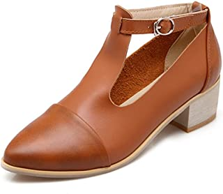 Veveca Women Mary Jane Platform Buckle Strap Chunky Mid Heel Dress Shoes Pointed Toe T-Strap Oxford Pumps