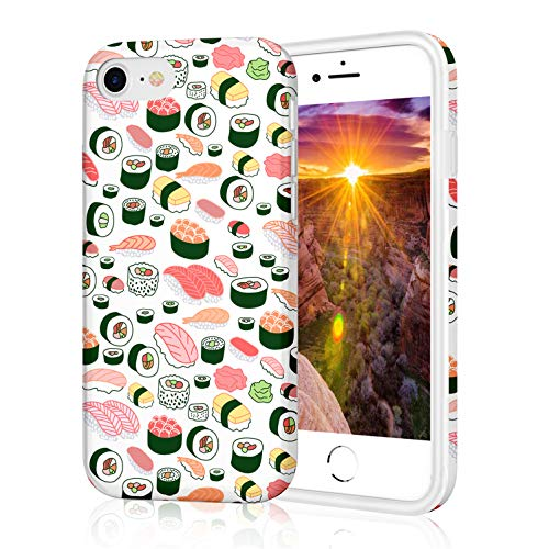 ZQ-Link Cover iPhone 7,Cover iPhone 8, Silicone Custodia Morbida Case Flessibile TPU Custodia Cover con Disegni per iPhone 7 / iPhone 8 - Bello Sushi Cibo Love