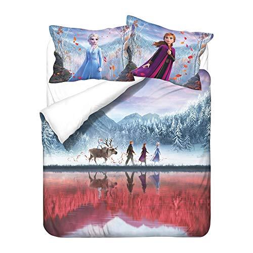 QIAOJIN Juego de ropa de cama infantil de Disney Frozen Elsa y Anna con impresión 3D de microfibra, funda nórdica y funda de almohada, regalo para niñas (w,135 x 200)