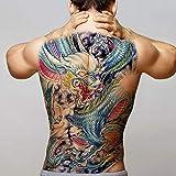 2 Piezas Gran Tatuaje Dragon Owl Skkull Reloj Etiqueta Engomada Del Tatuaje Temporal A Prueba De Agua Hombres Chinos Tatuaje De Espalda Completa Y Niños De Arte
