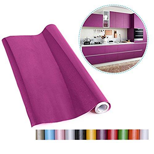 Liveinu - Papel pintado autoadhesivo de color liso para armario de cocina de PVC, impermeable, para pared, para decoración de dormitorio, salón o muebles, morado, ISA-GXSM-1182-1-5