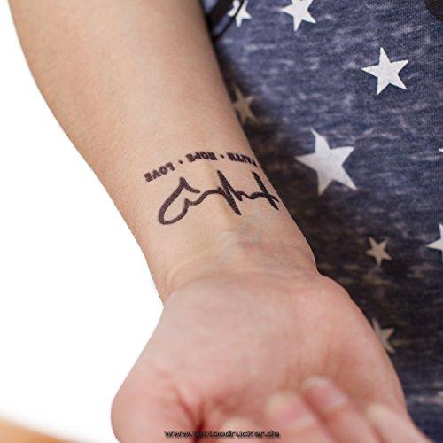 5 x Faith + Hope + Love Tattoo - black temporary Cross Puls Heart Tattoo Symbol (5)