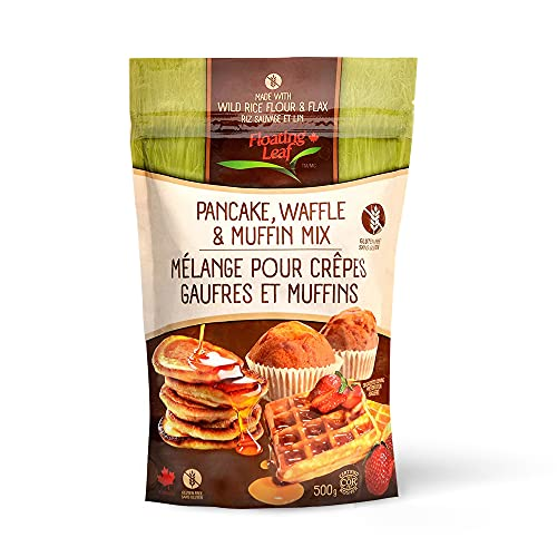 Floating Leaf Gluten Free Wild Rice And Flax Pancake, Waffle and Muffin Mix - 1.1 lbs, Gluten Free - Non GMO - All Natural - Vegan - Plant Based