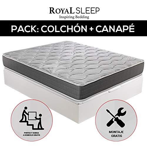 ROYAL SLEEP - Pack Descanso colchón viscoelástico Ceramic 135x190 y canapé abatible Gran Capacidad Blanco Madera