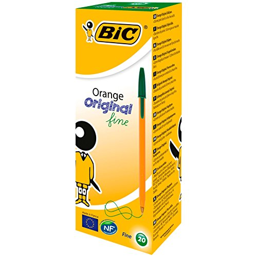 BIC Orange Fine - Ballpoint pen with cover (0,35 mm stroke, 20 units), green color