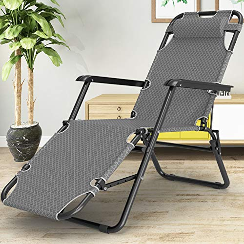 Olz Recliner Garden Chair Metal Sun Lounger, Folding Sunbed, With Breathable Synthetic Fabric, Footrest 3 Position Adjustment, 178 x 60 x 35cm, Static Load Max 150 kg/330 lb,A gray