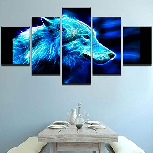 Abstract Modern Home Decoration Canvas 5 Panel Animal Wolf Print Painting Wall Art for Living Room Modular Picture-Without Frame