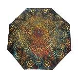RELEESSS - Paraguas plegable de viaje vintage floral mandala compacto a prueba de viento portátil para mujeres hombres unisex