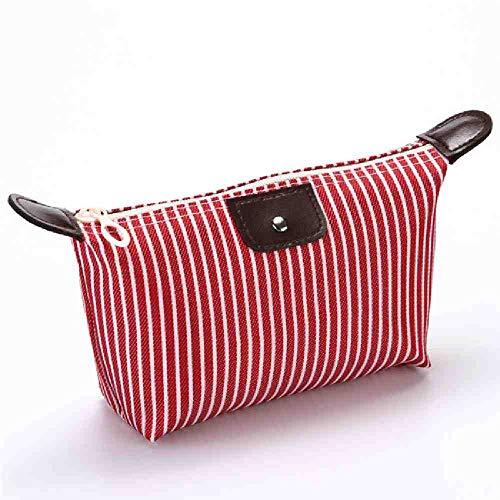 OYHBGK Femmes Cosmétique Sac Zipper Maquillage Sac Étanche Portable Multifonction Organisateur Voyage Wash Bag Rayé Dumpling Cosmétique Sac