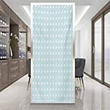 Glass sticker Window film W 35.4' x L 78.7' Window Film Decorative Privacy Film,Home Office Glass Door Sticker,White,Nested Overlapping Circles Abstract Rising Sun Theme in Cold Colors Serenity,Pale B