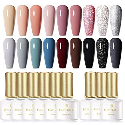 BORN PRETTY Ensemble de vernis à ongles en gel UV, ensemble de 21 bouteilles de gomme laque, couleur unique de vernis à ongles UV de la série Modern Muse