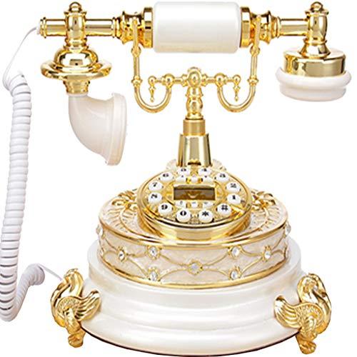 VERDELZ Teléfono Europeo/teléfono Retro/teléfono Antiguo, dial de botón de función de Cuerpo de Metal de Resina - Blanco