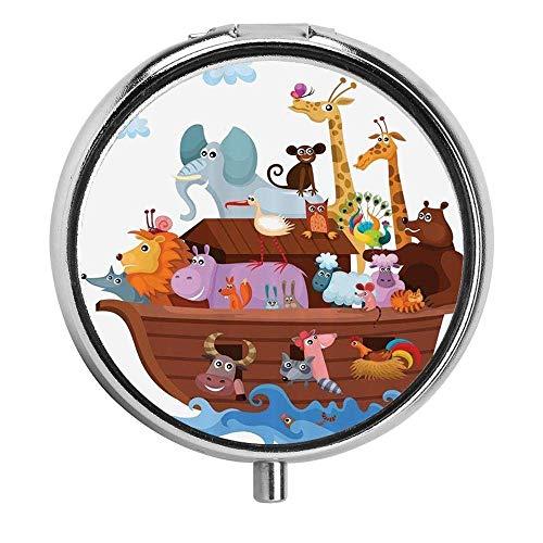 Glückliche Tiere in Noahs Arche Clipart Religion Religiöse Kunstwerk Pille Fall Runde Pille Box