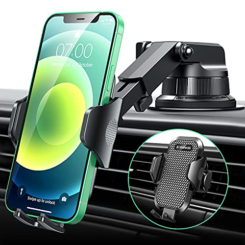 [2021 Upgraded] VANMASS Car Phone Mount [Super Suction Cup] Dashboard Phone Holder Stand, Universal Handsfree Windshield Dash Air Vent Cell Phone Holder Car, Compatible with All iPhone Samsung & Truck