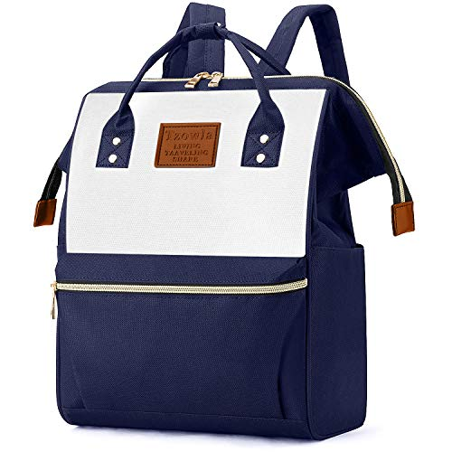 Tzowla College School Travel Casual Daypack Backpack Purse for Women Book Doctor Shopping Mini Bag Light Weight for Men Girls Boys Student Fit 14 inch Compter Netbook-BlueWhite