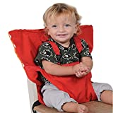 Portable Baby High Chair Safety Seat Harness for Home and Travel Infant Toddler Feeding with Adjustable Straps Shoulder Belt, Hand Wash Cloth and Foldable, Red