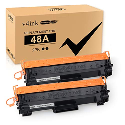 V4INK 2-Pack Compatible 48A Toner Cartridge Replacement for HP 48A CF248A Toner Black Ink for use in HP Laserjet Pro M15w M15a M16w M16a MFP M29w M29a M28w M28a Printer
