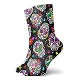 tyui7 Calcetines deportivos transpirables para hombres y mujeres Calcetines de flores de calavera Calcetines divertidos de poliéster de 30 cm (11.8 pulgadas)