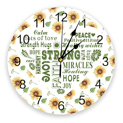 guijinpeng Relojes de Pared Reloj de Pared de diseño Moderno con Texto curativo de Amor de girasolsilencioso Decorativo