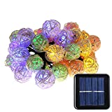 Quace Solar String Lights 6m/20ft 30 LED Water-Resistant Lights Festival Decoration Mini Rattan Ball String Lights for Indoor Outdoor Bedroom Patio Lawn Garden Party Decorations - Multicolor