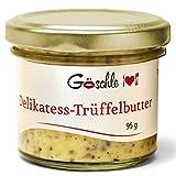 Die Trüffelmanufaktur - Feinkost Trüffelbutter mit 15% echtem frischen schwarzem Trüffel, die Delikatesse für Feinschmecker, weiße Trueffel-Butter im Glas á 95 g - hergestellt in Deutschland